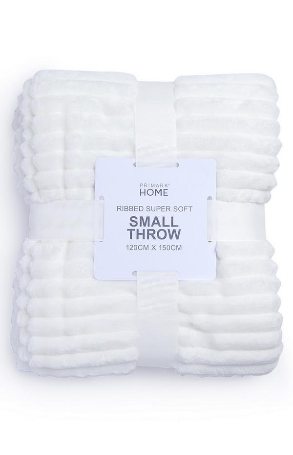 White Supersoft Ribbed Throw