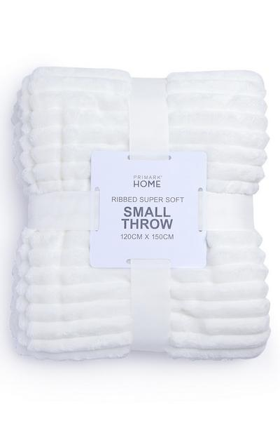White Small Soft Ribbed Throw