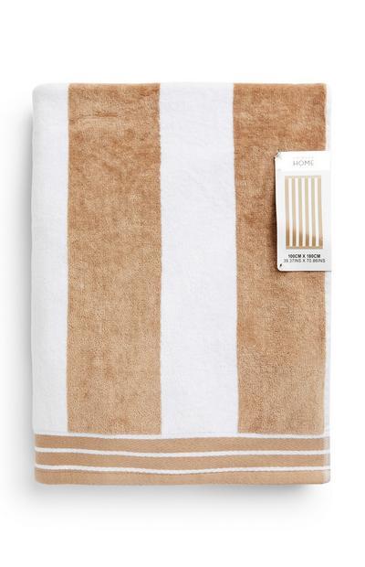 Camel And White Cabana Stripe Beach Towel