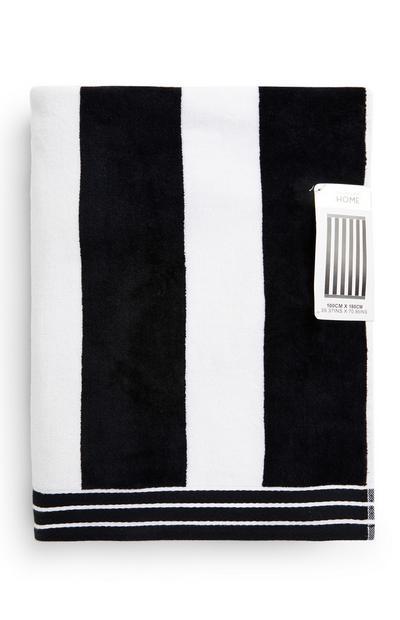 Monochrome Cabana Stripe Beach Towel