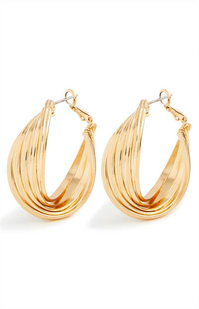 Chunky Twist Goldtone Midi Hoop Earrings