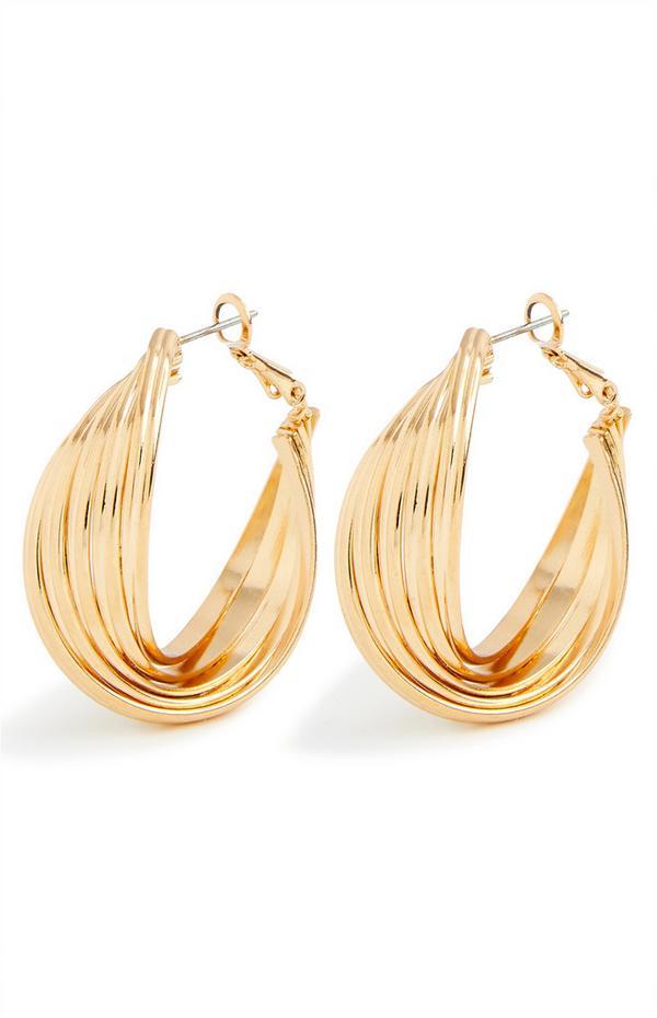 Chunky Twist Goldtone Midi Hoop Earrings