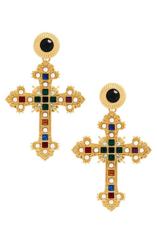 Goudkleurige oorhangers in kruisvorm met verschillende kleuren steentjes