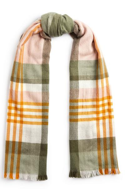 Yellow And Olive Check Scarf