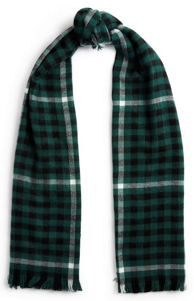 Green And Black Print Scarf