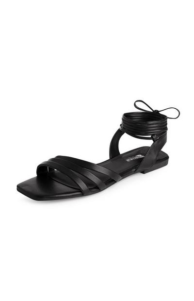Black Square Toe Tie Up Sandals