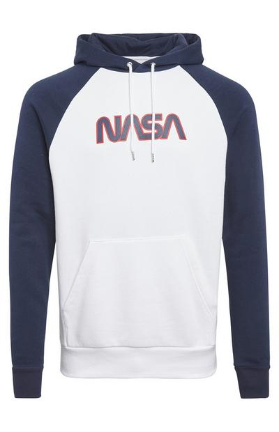 Navy And White Nasa Logo Pull Over Hoodie