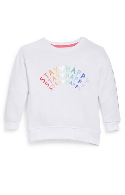 Younger Girl White Stay Happy Slogan Sweater