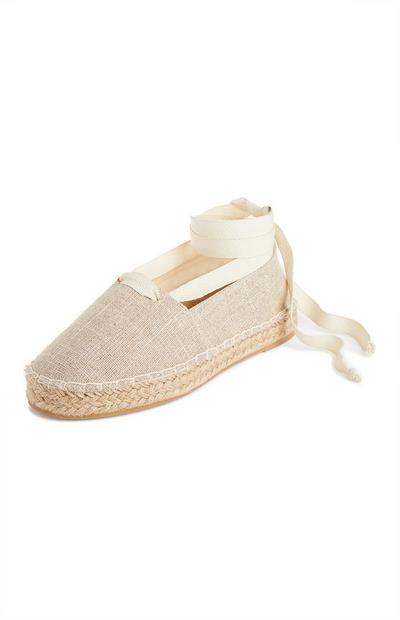 Espadrillas beige allacciate alla caviglia