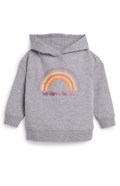 Sweat à capuche gris à motif arc-en-ciel et message Believe In You fille