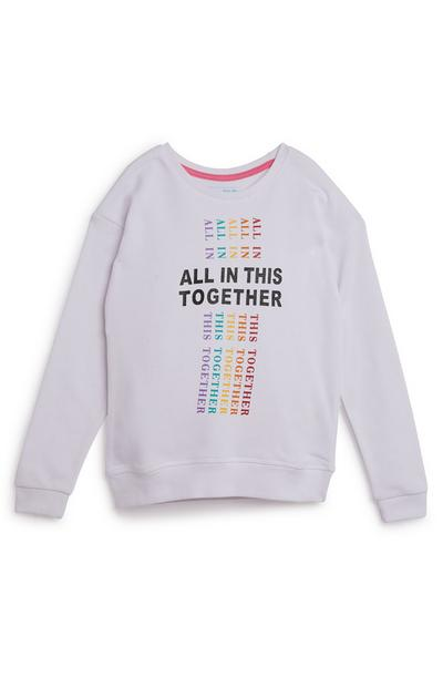 Older Girls All In This Together Slogan White Crew Neck Sweater