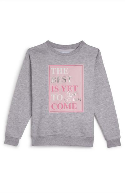 Older Girl Grey Slogan Print Sweater