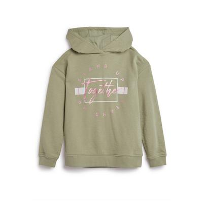 Older Girls Stand Up Slogan Khaki Hoodie