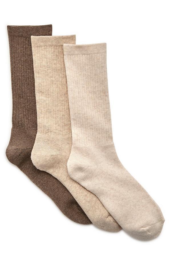 Pack de 3 pares de calcetines deportivos marrones Wellness