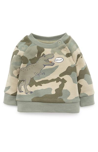 Baby Boy Khaki Camo Dinosaur Crew Neck Sweater