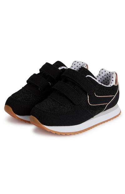 Younger Girl Black Retro Trainers