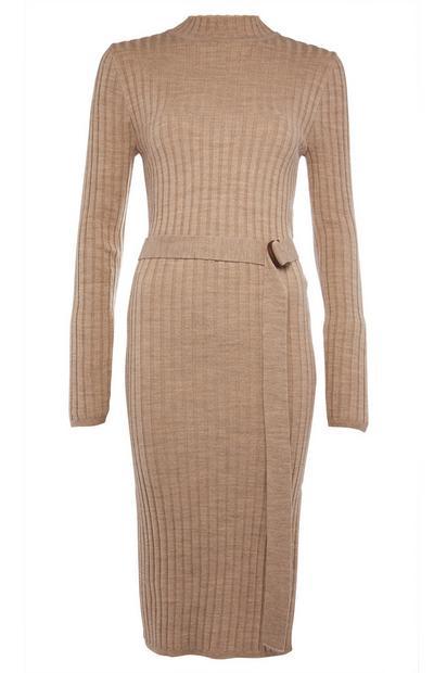 Beige Long Sleeve Tunic Dress