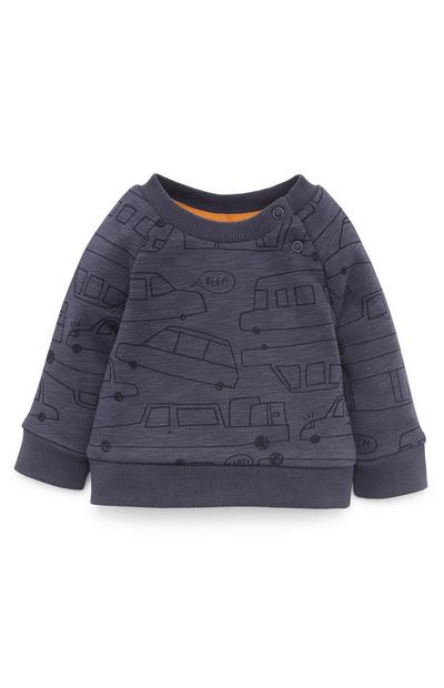 Baby Boy Navy Transport Crew Neck Sweater