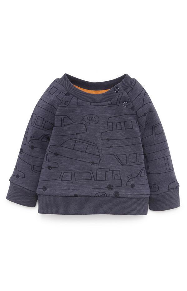 Baby Boy Navy Vehicles Crew Neck Sweatshirt