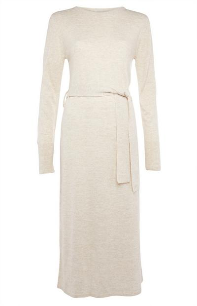 Beige Crew Neck Maxi Dress