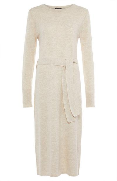 Cream Crew Neck Maxi Dress