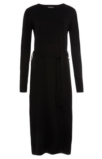 Robe longue noire à col ras du cou