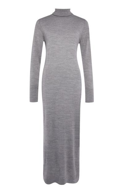 Grey Roll Neck Maxi Dress