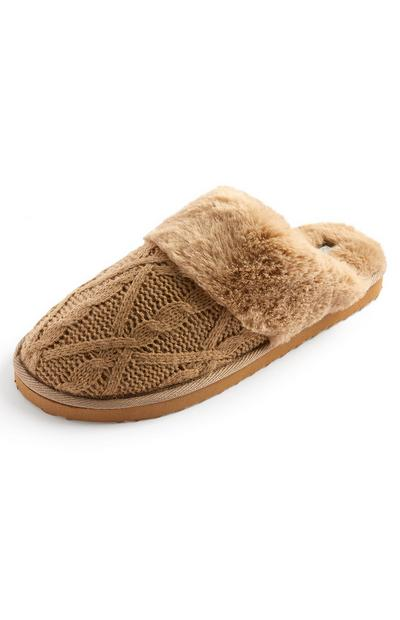Camel Knitted Faux Fur Lined Mules
