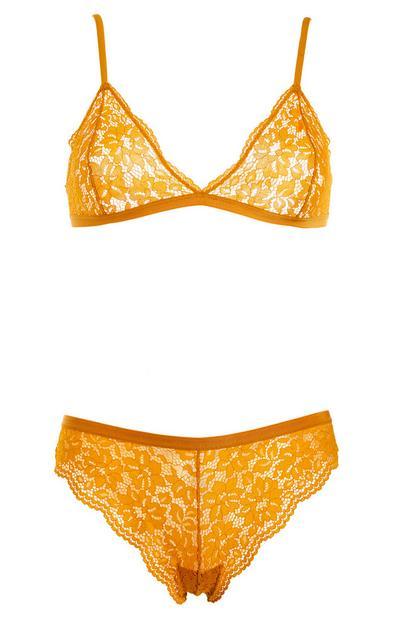 Mustard Lacy Triangle Underwear Set