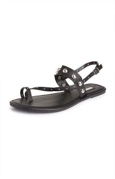 Black Studded Toe Loop Sandals
