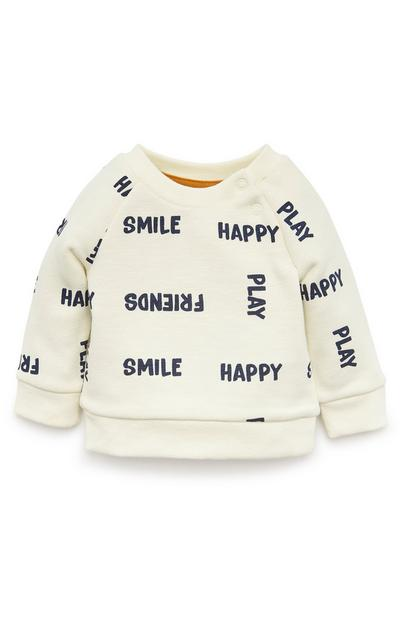 Baby Boy Ivory Happy Crew Neck Sweatshirt