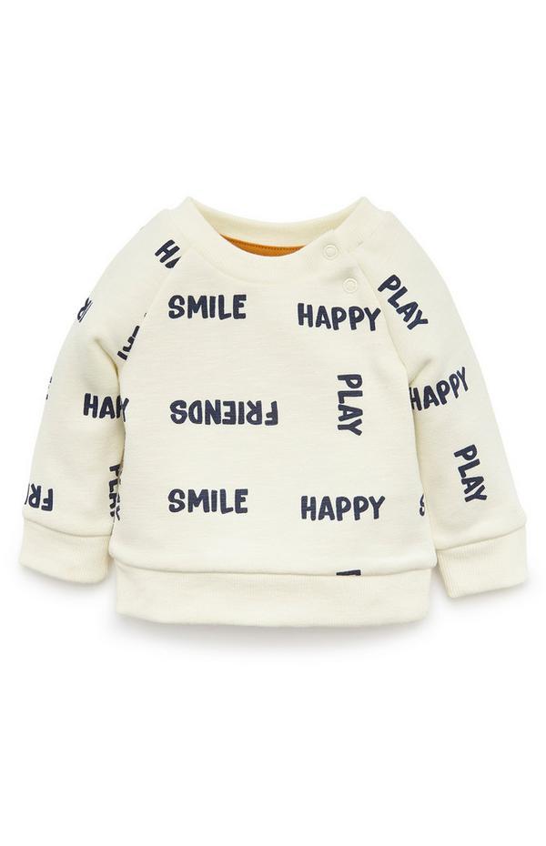 Baby Boy Ivory Happy Crew Neck Sweatshirt