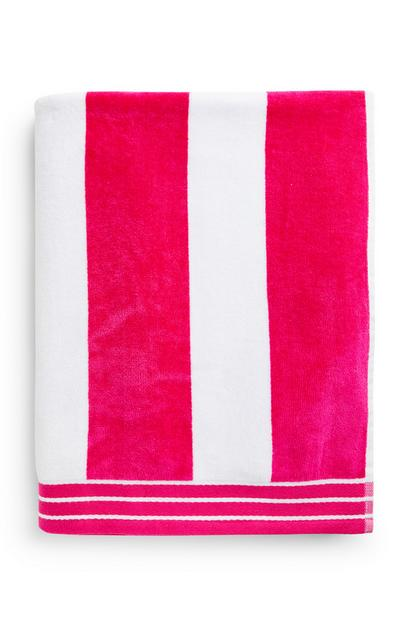 Pink And White Stripe Beach Towel