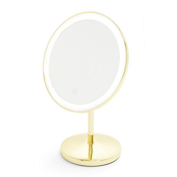 Gold Tone Round Light Up Vanity Mirror