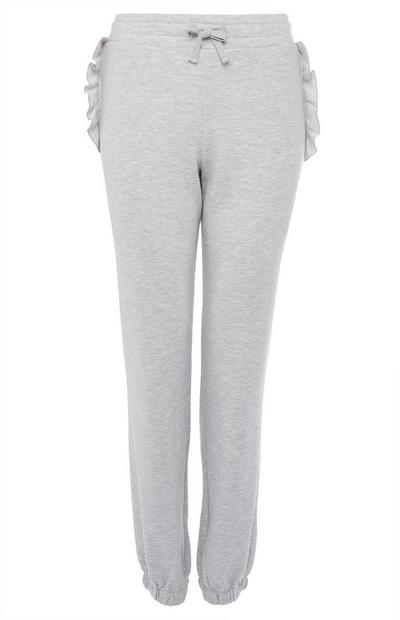 Gray Ruffled Joggers