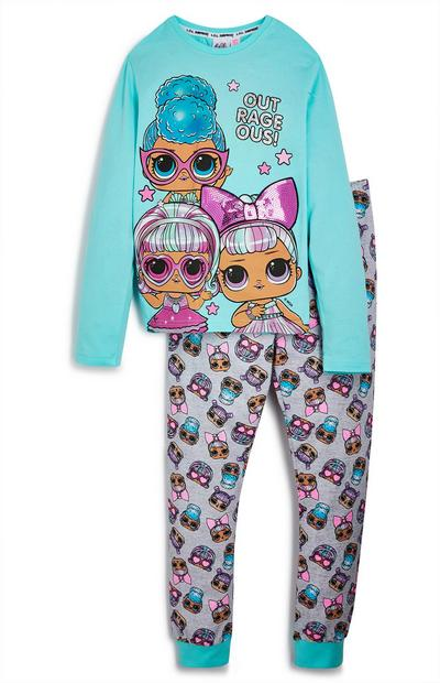 Turquoise pyjamaset Lol Doll voor meisjes