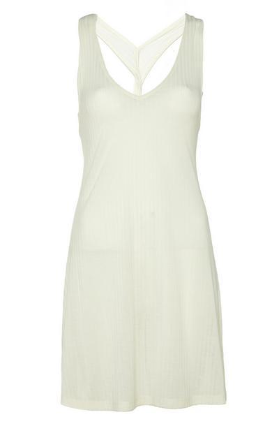 White Knot Back Jersey Dress