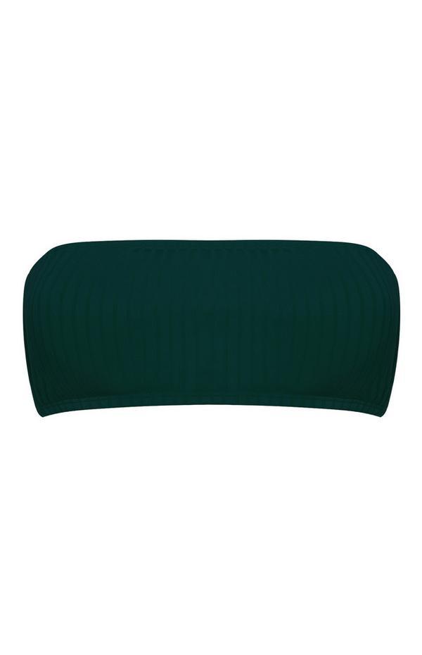 Forest Green Ribbed Bandeau Bikini Top