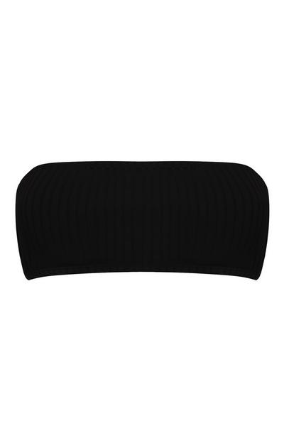 Black Ribbed Bandeau Bikini Top