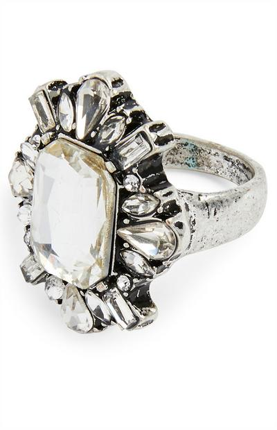 Silvertone Large Gem Cocktail Ring