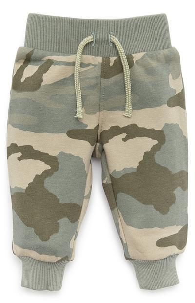 Kaki babyjoggingbroek met camouflageprint voor jongens