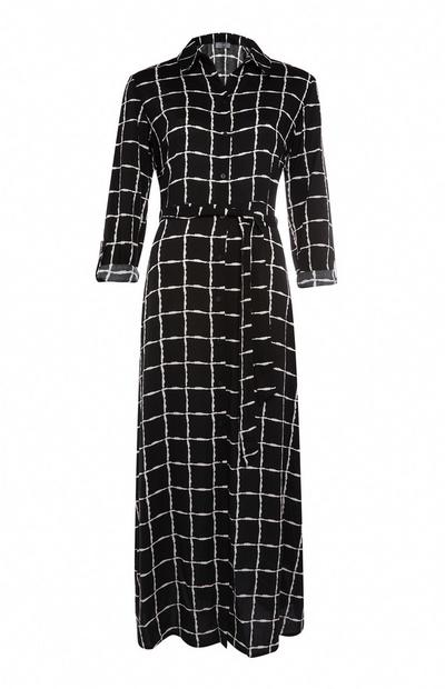 Black and White Grid Maxi Shirt Dress
