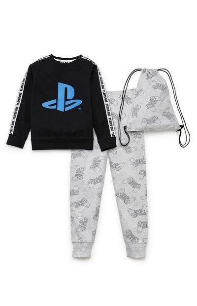 Grijs-zwarte pyjama PlayStation met trekkoordtas voor jongens