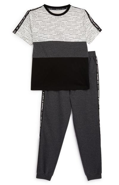 Zwart-grijze pyjamaset voor jongens