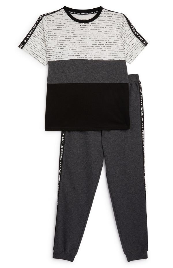 Dvodelna črno-siva pižama za starejše fante