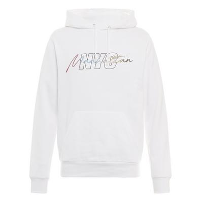 White NYC Print Pull Over Hoodie