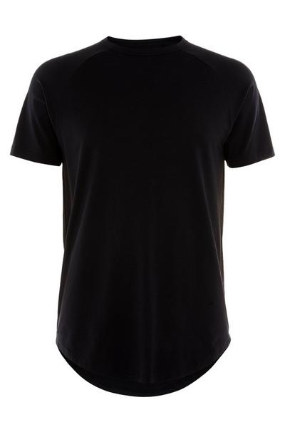 Black Stretch Longline T-Shirt