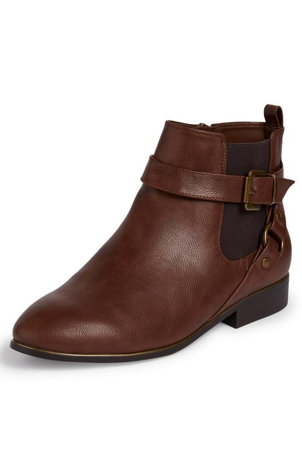 Brown Faux Leather Buckle Strap Flat Heel Chelsea Boots