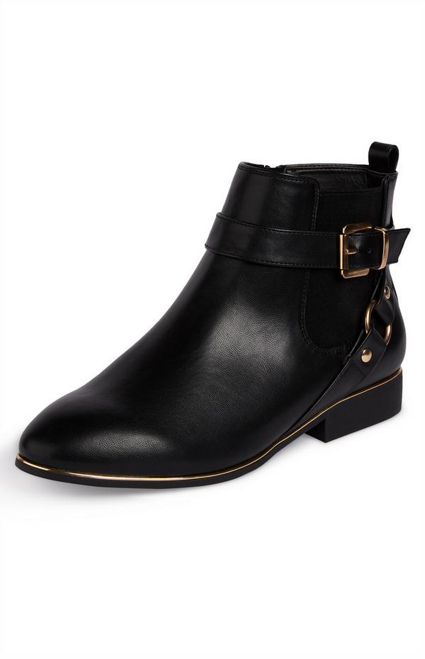 Black Faux Leather Buckled Chelsea Boots With Goldtone Detail