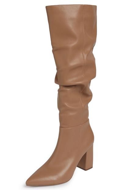 Camel Knee High Pointed Toe Slouchy Boots